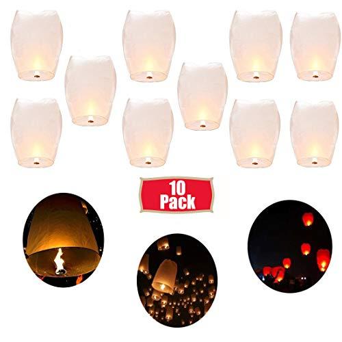 Shellvcase Wish Sky Lanterns, 10Pcs Flying Sky Wish Paper,Fully Assembled, 100% Biodegradabl Paper Lanterns,Great for Birthdays, Holidays, Weddings, Memorials -