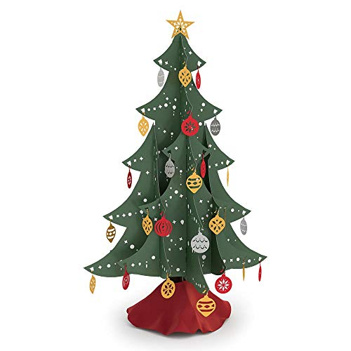 Lovepop Festive Tabletop Christmas Tree, Laser Cut Holiday Decor, Foldable, Storable, with Ornaments ()