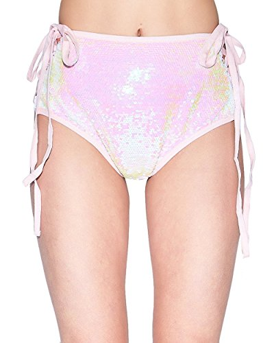 iHeartRaves Baby Pink Sequin Side Laced Fairy Dust Rave Booty Shorts (Medium) Fairy Princess Short