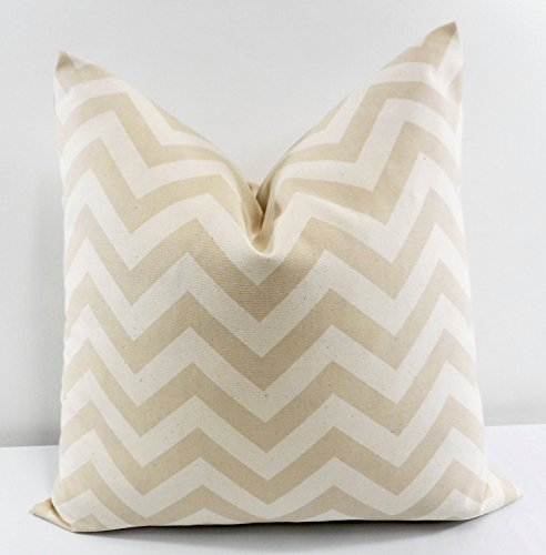 Khaki tan Zigzag, natural, Accent Pillow, Euro Sham, Cushion Cover- Modern - Dorm Decor - Pillow Shams Pillow Cover - . Cotton. Bed Euro Sham, Cushion Cover - 26