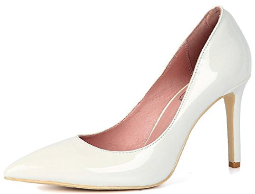 Patent Pump Toe Pump Heels Pointed Dress Leather inch White Stiletto Three LizForm Classic 0RZTxfqUqH