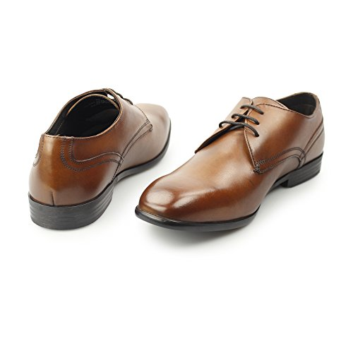 Base London Mens Page Smooth Leather Smart Formal Derby Shoes Tan