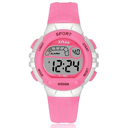 Kids Digital Watch, Girls Boys Sports Outdoor LED 50M(5ATM) Waterproof Multi Functional Wrist Watches with Alarm for Boys,Girls,Children(Pink)