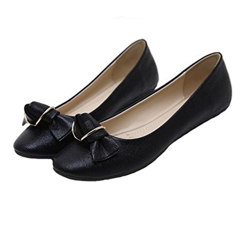 Mocassini Da Donna Fashion Ballette Slip On Glitter Bow A Punta Scarpe Classiche Dress Casual Nere