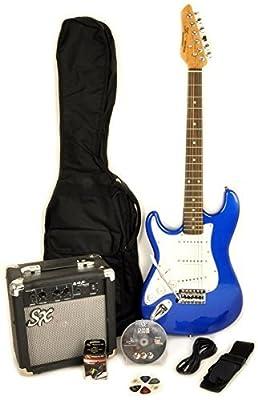 Left Handed Beginner Guitar Package 3/4 Size BLUE GUITAR PACK SX RST 3/4 EB