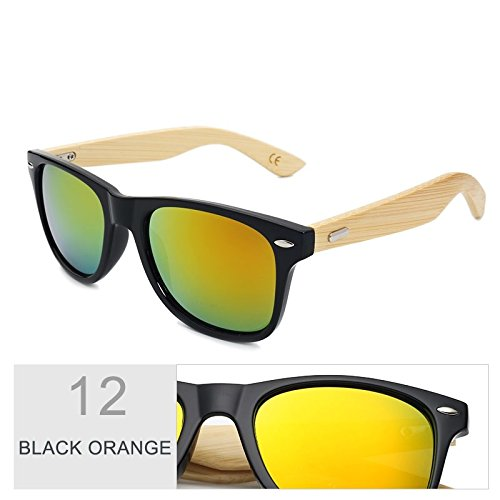 de Multi de espejo Orange gafas Gafas de por el de hombre color marrón bambú de Sunglasses mujer Black sol real madera TL sol 6HwIYxq