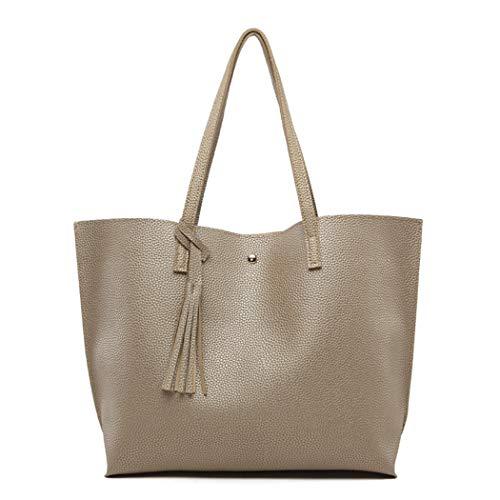 Women Bags, Large Leather Handbags for Ladies Fringe Hobo Bag Tote Bag with Tassel Golden