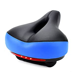Arenaron Bike Saddle with Safty Led Taillight-Comfortable Wide Bike Saddle, Memory Foam Padded Dual Spring Designed Bicycle Seat Cushion for Cycling Race- Bike Suspension Cruiser Seat (Blue)
