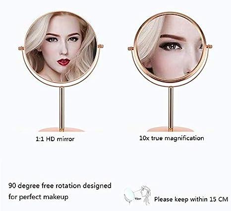 Mirror Beleuchteter Make Up Spiegel 8-Zoll-Tischspiegel doppelseitiger Spiegel 10-Fach Vergr/ö/ßerungsglas-Schreibtisch-Schlafsaal-Kosmetikspiegel Ros/égold