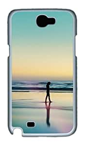 Woman Silhouette Walking On Beach Custom Designer Samsung Galaxy Note 2/Note II / N7100 Case Cover - Polycarbonate - White