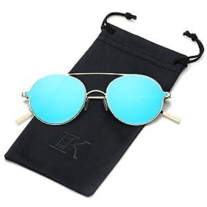 LKEYE Ultra-Light-Thin Sunglasses Unisex Round Style Small Memory Metal Frame LK1711 Gold Frame Blue Lens