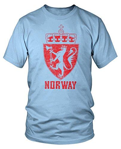 Amdesco Men's Norwegian Coat of Arms, Norway Golden Lion T-shirt, Light Blue - Norway Light Blue