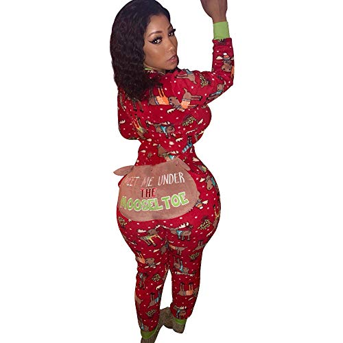 Fashion Women Long Sleeve Christmas Zipper Jumpsuit Onesie Pajamas Funny Letter on The Bottom Club Party (Red, XL)