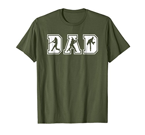 Mens Baseball Dad Funny Fathers Day T-Shirt XL Olive