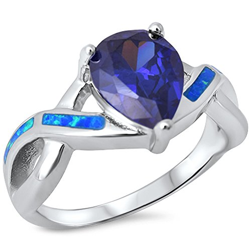 Pear Simulated Tanzanite & Lab Created Blue Opal .925 Sterling Silver Ring