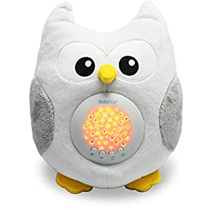 Bubzi Co Baby Sleep Aid Night Light & Shusher Sound Machine & Baby Gift, LED Star Projector & Portable Soother Stuffed Animal Owl with 10 Popular Songs For Crib to Comfort Plush Toy