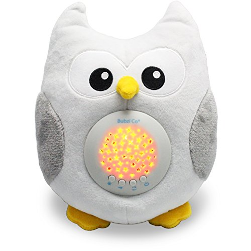 Bubzi Co White Noise Sound Machine & Sleep Aid Night Light. New Baby Gift, Woodland Owl Decor Nursery & Portable Soother Stuffed Animals Owl with 10 Popular Songs for Crib to Comfort Plush Toy -