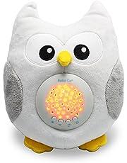 Bubzi Co Búho quitamiedos Relajante y Luz de Noche y Emisor de Sonido Relajante – Peluche bebé con Ruido Blanco y Proyector de Estrellas LED y 10 Canciones de Cuna bebé