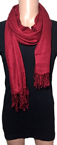 [100% Natural Pure Silk Scarf, Solid Color Plain Scarves Soft Winter, Maroon] (Lamb Costume Makeup)