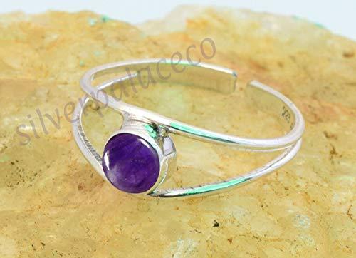 925 Sterling Silver Blue Amethyst Toe Rings - Amethyst Stone Gemstone Girl Women Toe Ring Adjustable Feet Body Jewellery