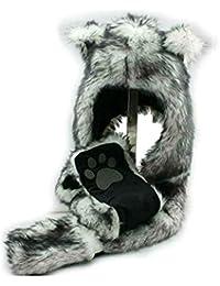 White Wolf Anime Spirit Paws Ears Faux Animal Hood Hoods Mittens Gloves Scarf Zipper