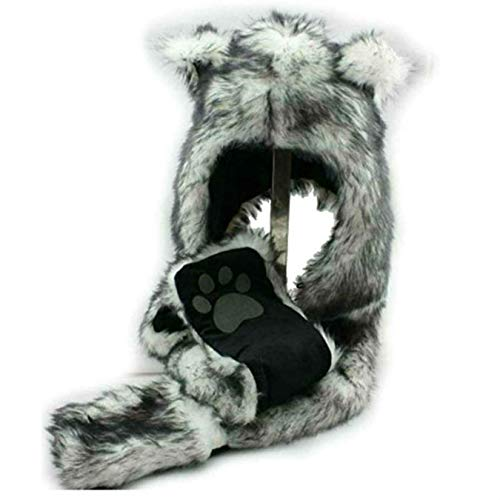 HatButik. White Wolf Anime Spirit Paws Ears Faux Animal Hood Hoods Mittens Gloves Scarf Zipper -