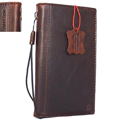 Genuine Leather Case for Samsung Galaxy Note 8 Book Wallet cover Handmade Retro brown Luxury cards slots slim Daviscase 1948