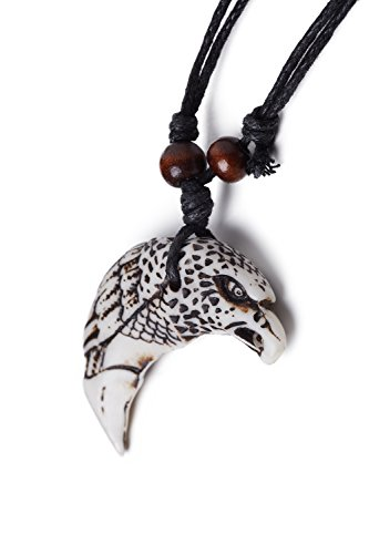 Cord Necklace Bone Imitation Totem Tribal Bird Carved Pendant Men Women Unisex (White, Black, Eagle) - Carved Bird Pendant