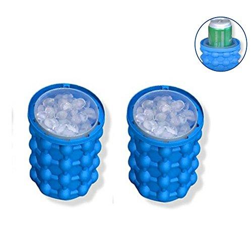 Ice Bottle Rack - NACHEN Saving Ice Cube Maker Wine Bottle Holsers Ice Bucket Cooler Wine Rack Kitchen Bar Tools 2PCS,Blue,14X14x13cm