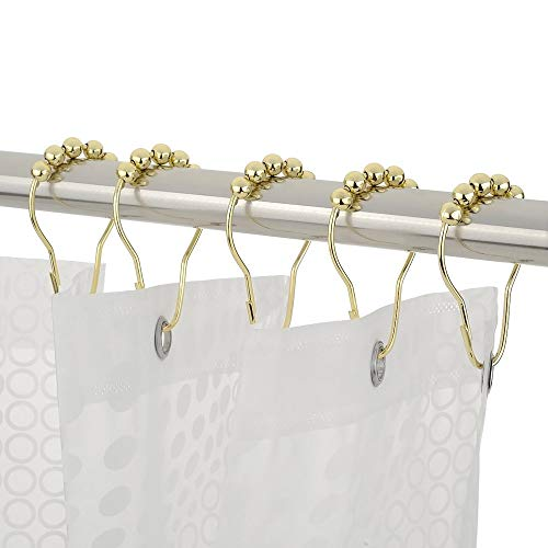 Wffo 1 Set of 12PCS Beautiful Polished Shower Curtain Hooks Rings Rust-Resistant Shower Curtain Rings Hooks