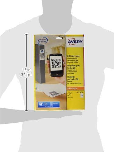 color blanco 35 por hoja, 35 x 35 mm, cuadradas, 875 unidades Etiquetas para c/ódigo QR Avery L7120-25