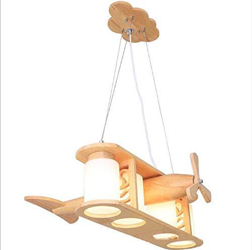 ZLHW Chandelier, Cartoon Children's Room Chandelier Madera Arte Avión Luz de Techo Iluminación
