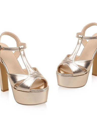 Shoes Evening Leatherette Glitter Sandals Heel Casual Chunky Party Silver Silver Gold Platform amp; Heels Dress Women's ShangYi 4wqPxTpp