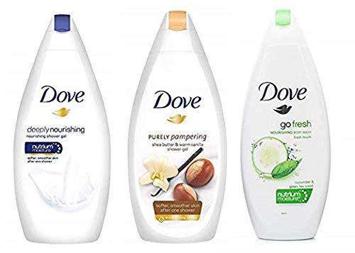 Dove Body Wash Variety Pack- Shea Butter with Warm Vanilla, Deeply Nourishing and Cucumber & Green Tea - 16.9 Ounce / 500 Ml (Pack of 3) International Version by Dove