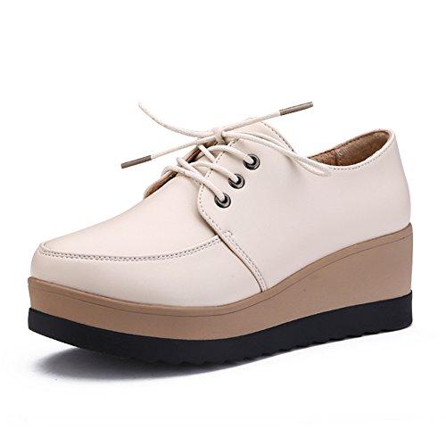 Zapatos de plataforma mujer/Primavera y otoño salvaje suela gruesa/zapatos tacón alto/Zapatos de cuñas/Encaje de zapatos casual/Viento de zapatos Inglaterra mujeres A