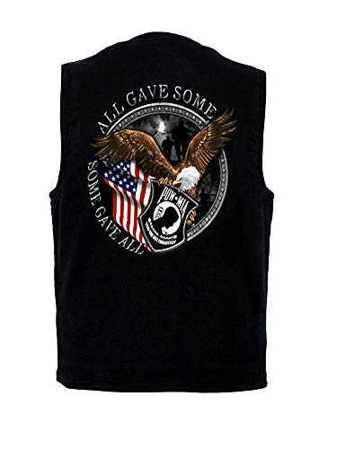 Leather Supreme Mens CC Denim Vest W POW-MIA Vet Patriotic Biker Design-Black-2XL ()