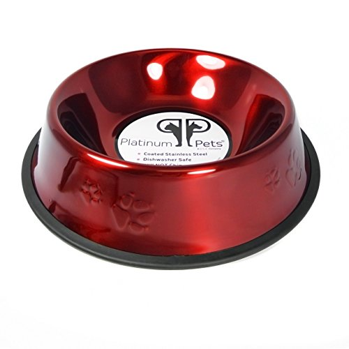Christmas Dog Bowl (Platinum Pets Non-tip Stainless Steel Dog Bowl, 80 oz, Red)