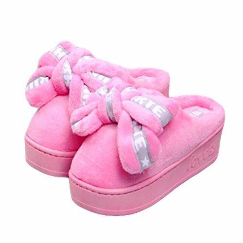 Cybling Zapatillas De Casa De Invierno Para Mujer Cálido Zapatillas De Salón De Felpa Suave Y Suave Suela De Confort Grueso Rosa