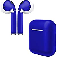 AirPod Skins & Charging Case Cover – Protective Silicone Cover and Stylish Wraps Bundle (Blue Case & Admiral Blue Skin)