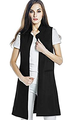 Women Solid Mandarin Collar Sleeveless Slim Waistcoat Long Suit Vest