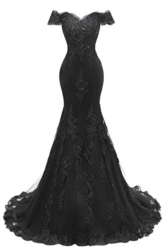 Asoiree Women's Off Shoulder Evening Gown Lace Mermaid Beading Sequins Appliques Prom Dresses Crystal Sweetheart Sleeves Black Black Chiffon Sweetheart Beading