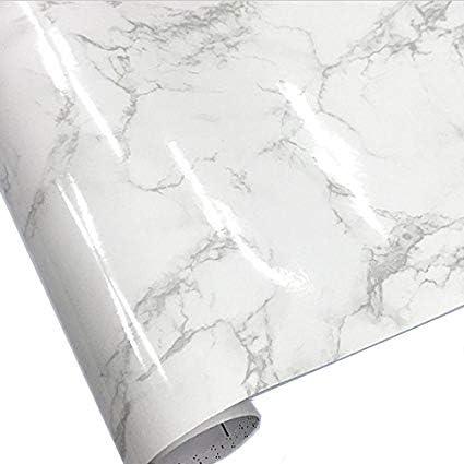 壁紙シール 大理石模様 ホワイト 幅50cm x 長さ1m単位 大理石