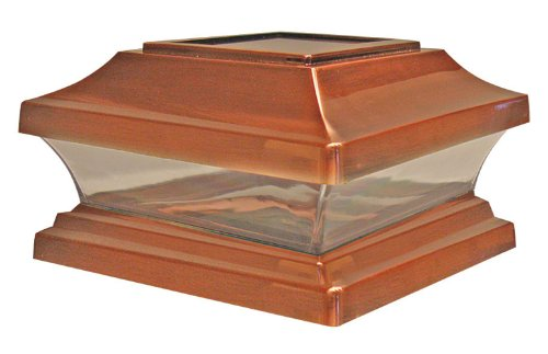 Copper Finish 6 Light (Woodway Solar Fence Post Cap 6 x 6 With Powerful LED Light Copper Outdoor Cap for Deck or Fence)