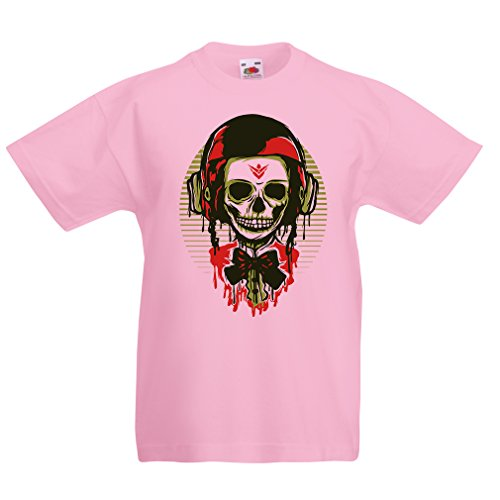 lepni.me T Shirts for Kids A Fashion Skull with Motorcycle Helmet (14-15 Years Pink Multi Color)