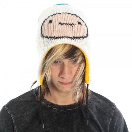 Adventure Time Jake & Finn Reversible Laplander Winter Beanie Hat (White/Yellow) (Hat And Finn Jake)