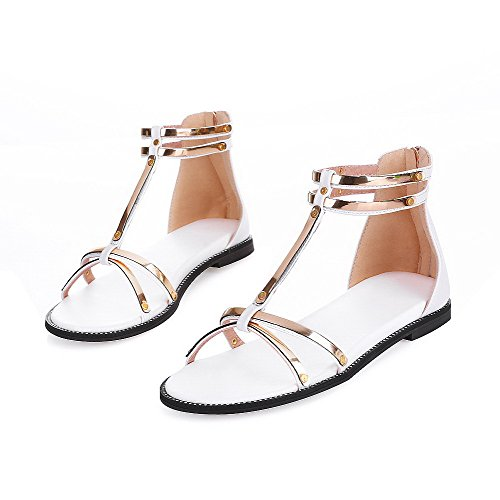 VogueZone009 Women's Low-Heels PU Solid Chains Open Toe Sandals White 9gVzi41D