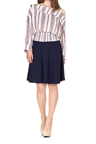 Simple Stretch A-line Flared Knee Length Skirt (L, Knee Navy) ()