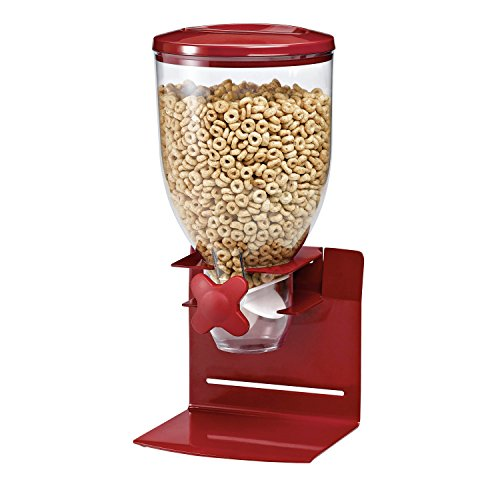 Zevro KCH-06154 Indispensable Professional Dry Food Dispenser, Single Control, Stainless Steel, Red