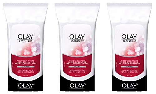 Olay Regenerist Micro-Exfoliating Wet Cleansing Cloths 30 Count (Pack of 3)  Packaging may (Pore Cleansing Cloths)
