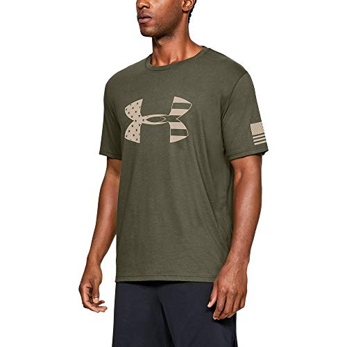Under Armour Freedom Tonal Big Flag Logo T-Shirt, Marine OD Green//Desert Sand, Small